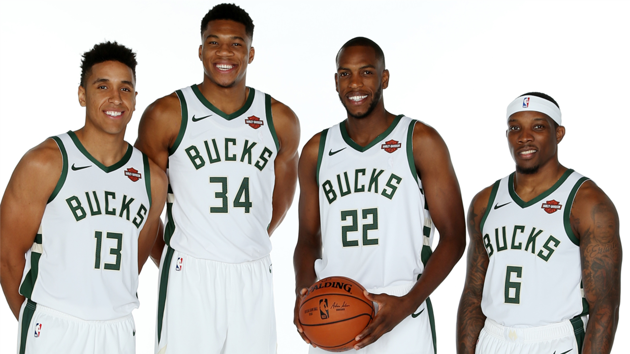 Left to Right - Malcolm Brogdon, Giannis Antetokounmpo, Khris Middleton, and Eric Bledsoe