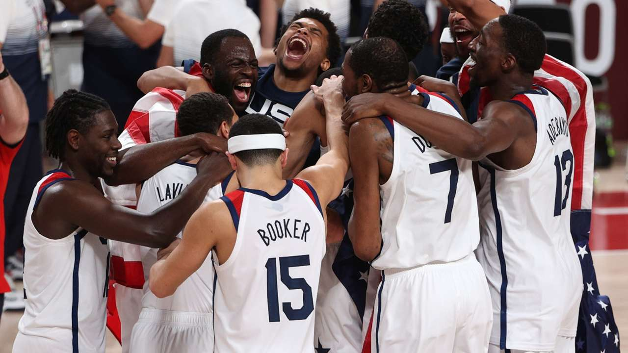 Team USA celebrate after winning the Gold Medal at the Tokyo Olympics