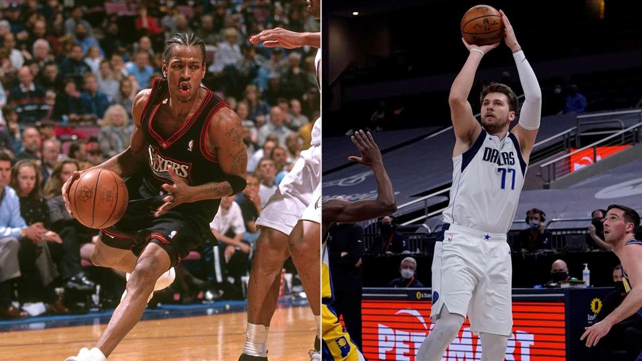 NBA 2K cover athletes Allen Iverson, 1999 Philadelphia 76ers and Luka Doncic, 2021 Dallas Mavericks