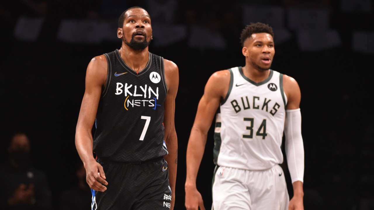 Kevin Durant and Giannis Antetokounmpo in the 2021 NBA Playoffs