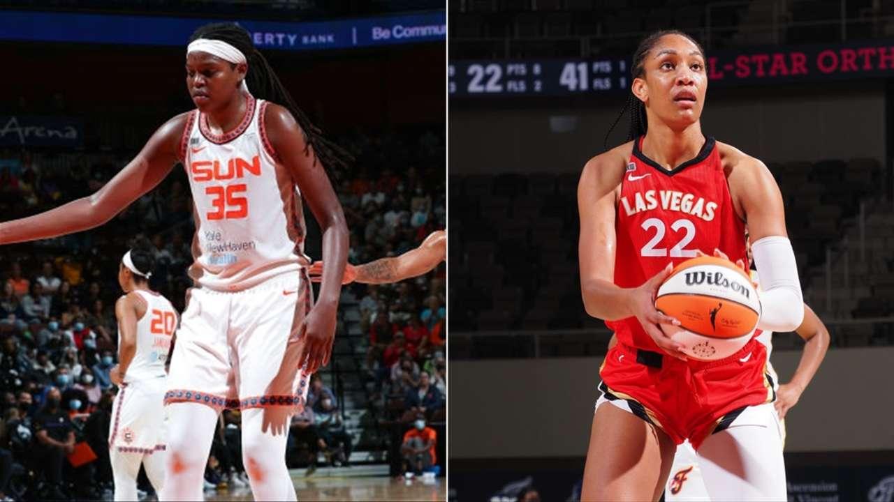 Jonquel Jones and A'ja Wilson fighting for the 2021 WNBA MVP.