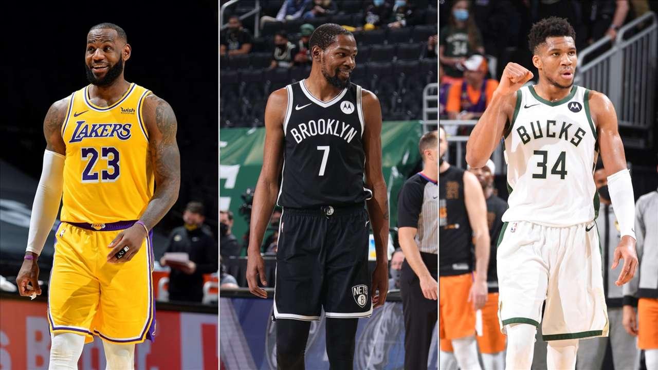 LeBron James, Los Angeles Lakers; Kevin Durant, Brooklyn Nets; Giannis Antetokounmpo, Milwaukee Bucks