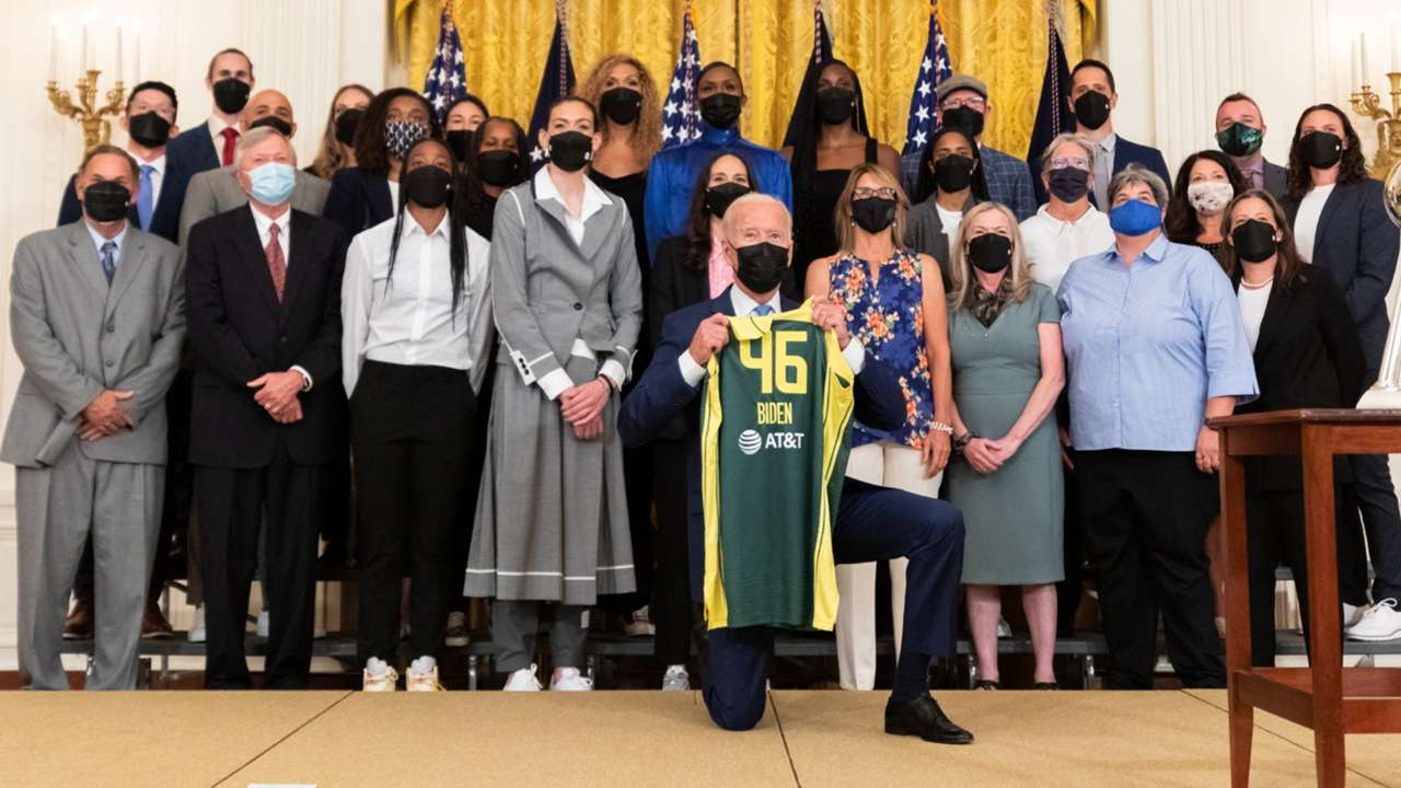 Seattle Storm visit the White House to celebrate their 2020 championship