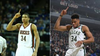 Giannis Antetokounmpo in 2014-15 and 2019-20.