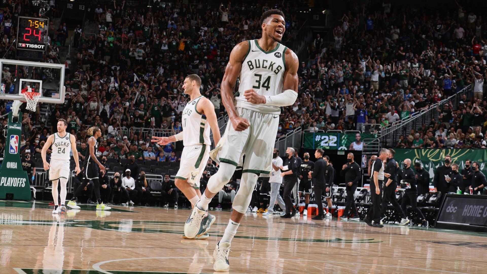 Giannis Antetokounmpo y Milwaukee Bucks triunfaron sobre Brooklyn Nets tras la lesión de Kyrie Irving | NBA.com Argentina | El sitio oficial de la NBA