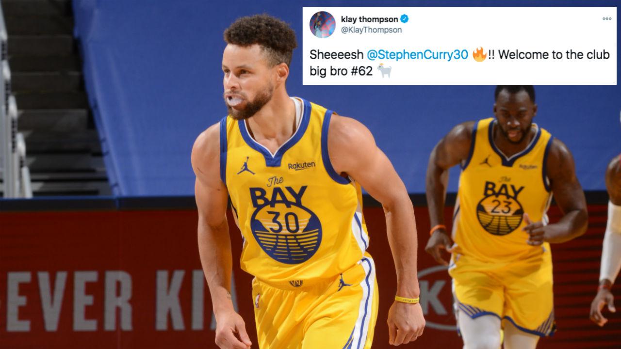 Klay祝賀Curry生涯新高:歡迎加入我們60分俱樂部!