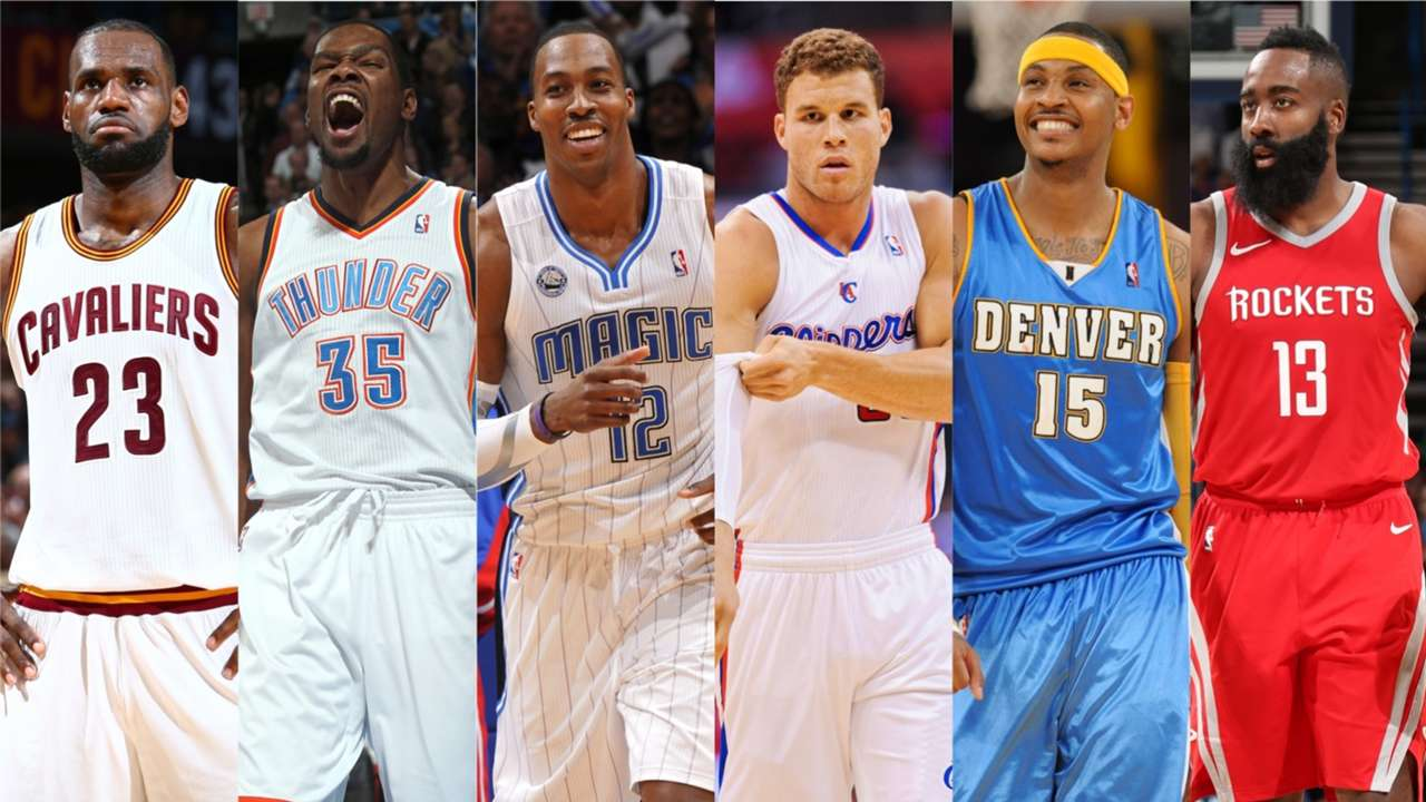 LeBron James, Kevin Durant, Dwight Howard, Blake Griffin, Carmelo Anthony and James Harden