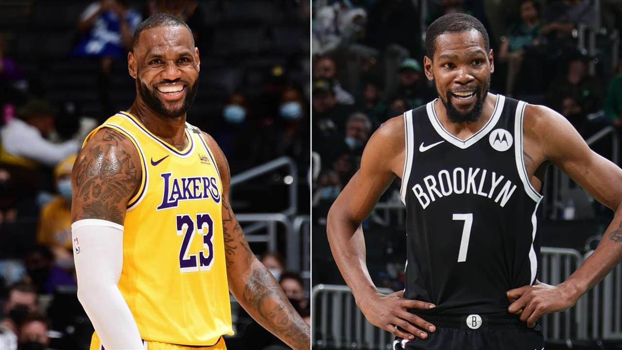 LeBron James, Los Angeles Lakers and Kevin Durant, Brooklyn Nets