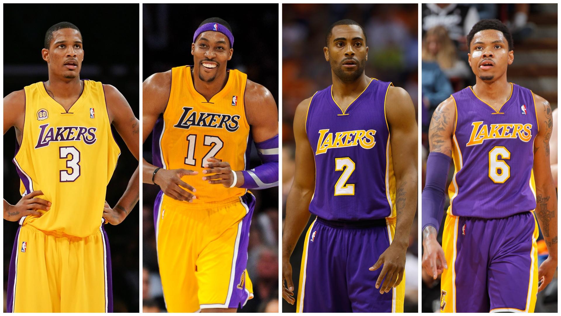 Trevor Ariza, Dwight Howard, Wayne Ellington and Kent Bazemore as Lakers
