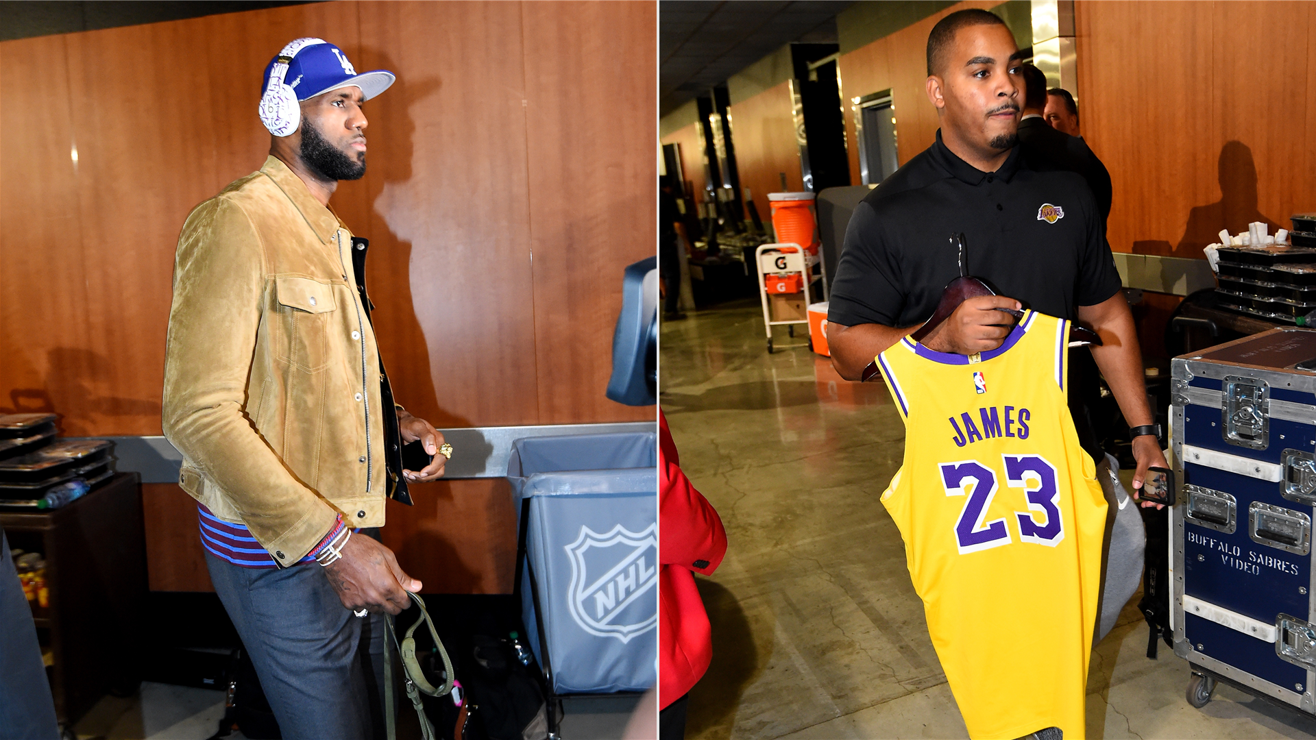 LeBron James and his jersey headed towards the Lakers locker room