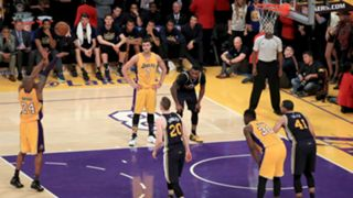 Kobe Bryant scores his 60th point in his final NBA game.