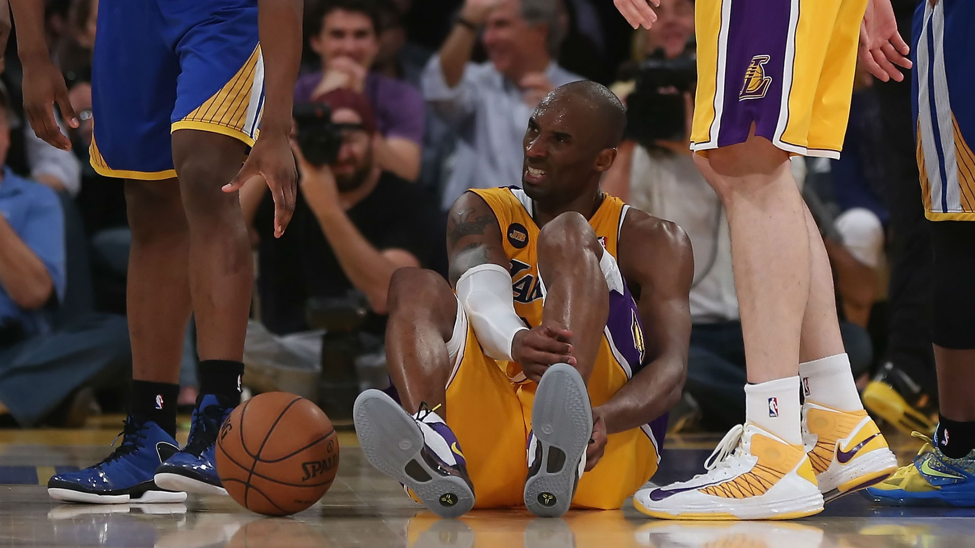 Kobe Bryant tore his Achilles against the Golden State Warriors in April 2013.
