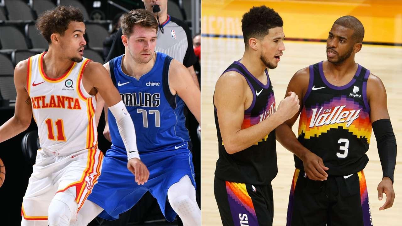 Trae Young (Atlanta Hawks), Luka Doncic (Dallas Mavericks), Chris Paul and Devin Booker (Phoenix Suns)