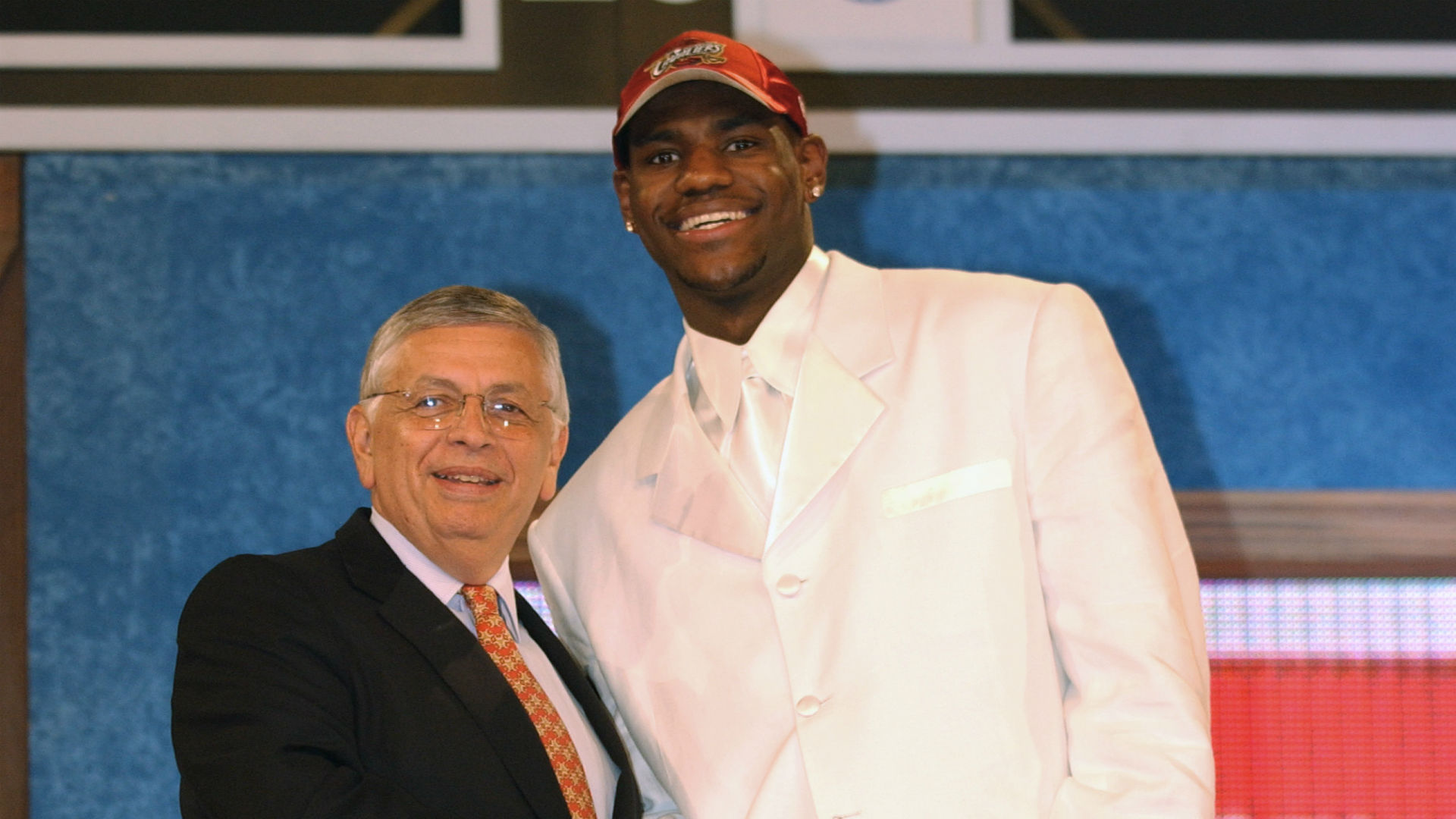 LeBron James poses with the late NBA commissioner David Stern after being drafted No. 1 overall in 2003.
