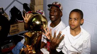 Michael Jordan after winning the 1996 NBA Championship