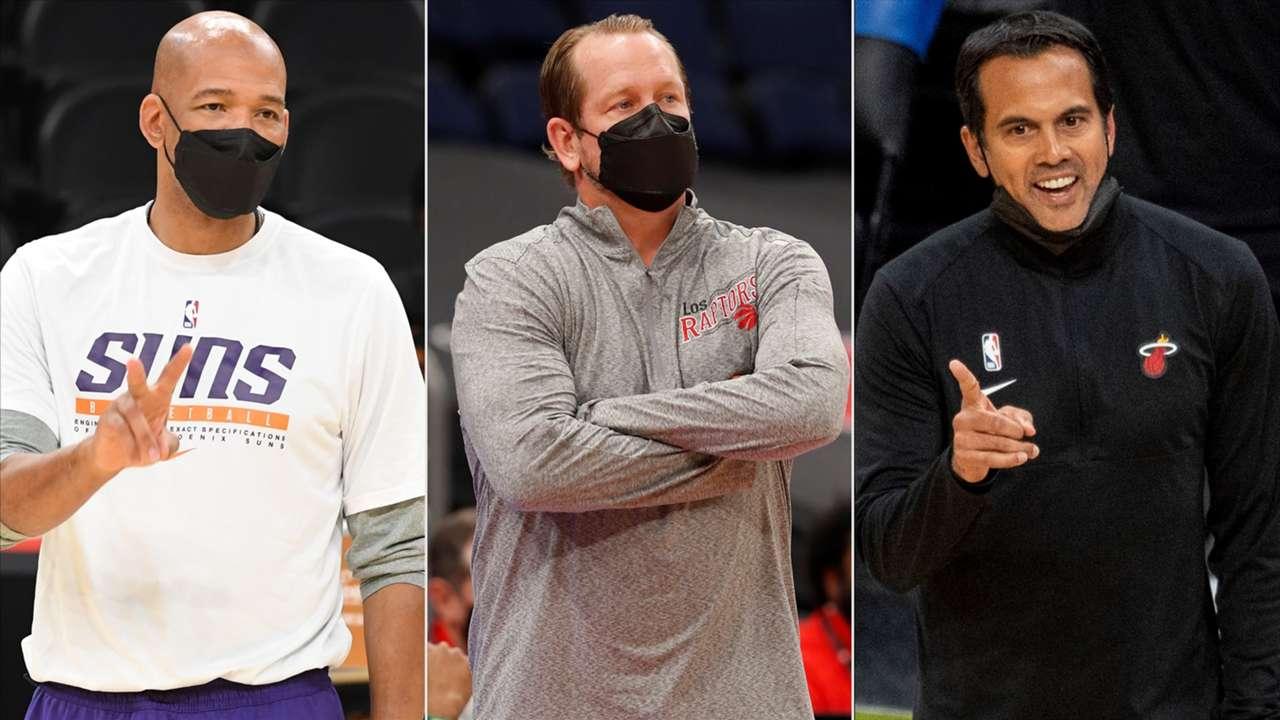 Monty Williams (Phoenix Suns), Nick Nurse (Toronto Raptors), Erik Spoelstra (Miami Heat)
