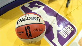 WNBA signed ball in the backdrop of the league's logo.