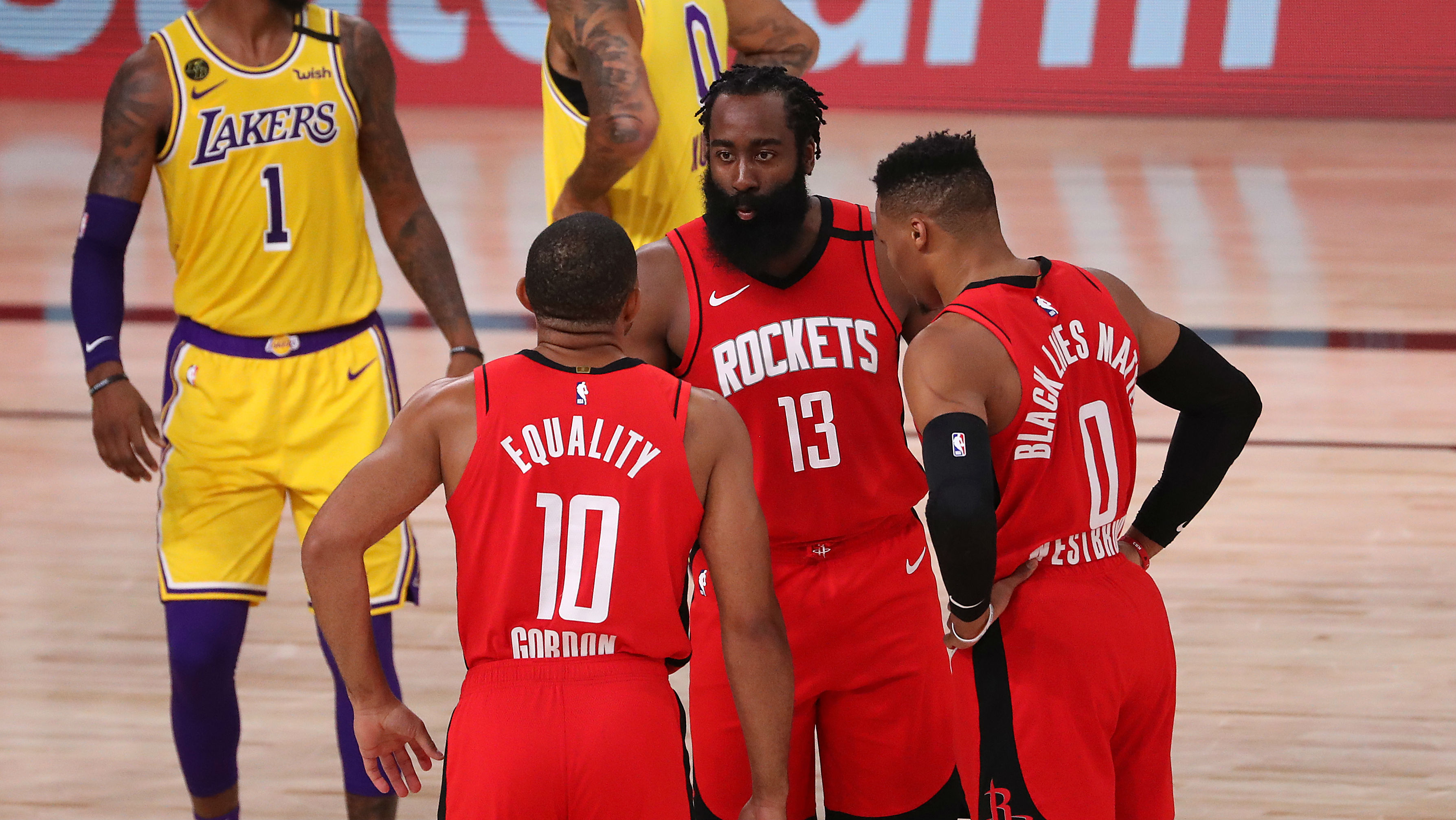 Eric Gordon, James Harden y Russell Westbrook