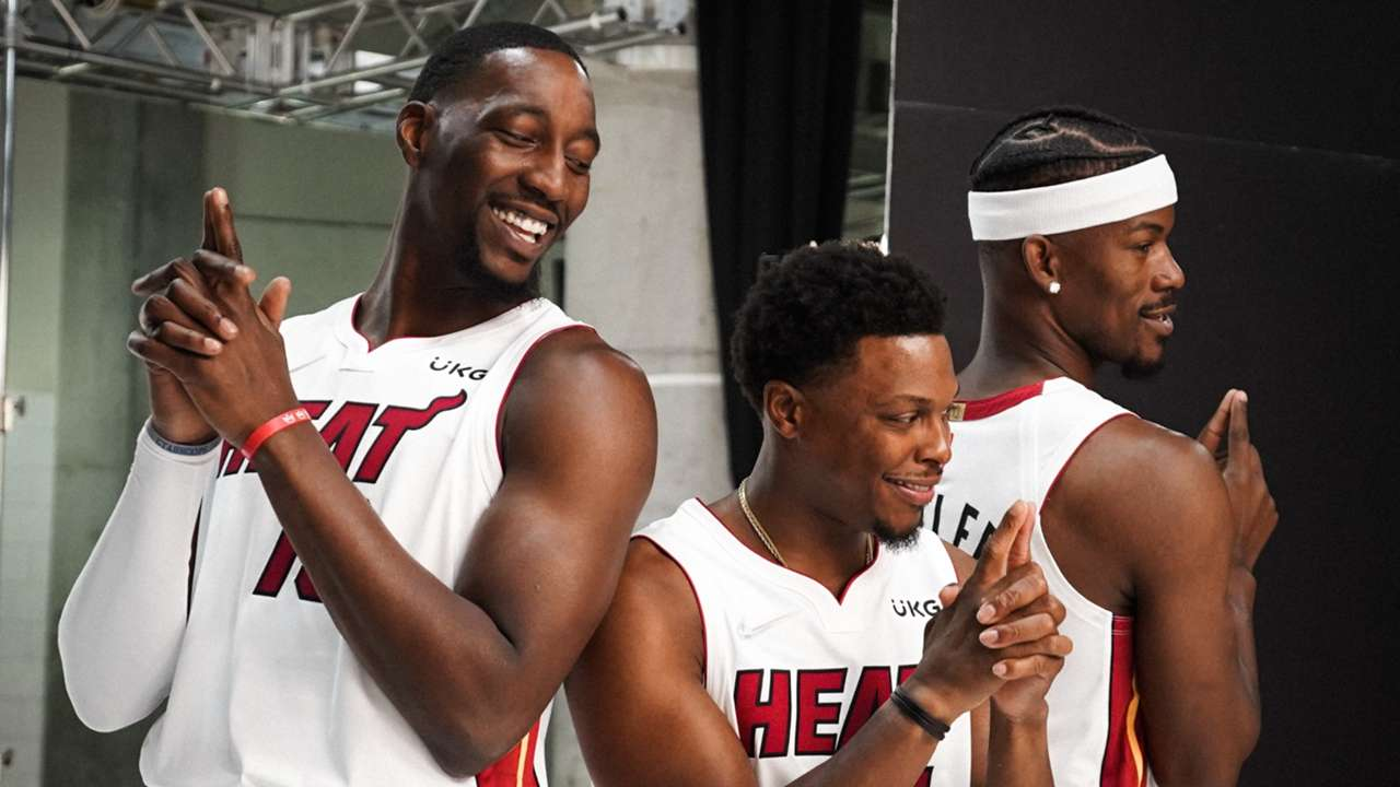 Kyle Lowry, Jimmy Butler and Bam Adebayo at Miami Heat Media Day 2021.