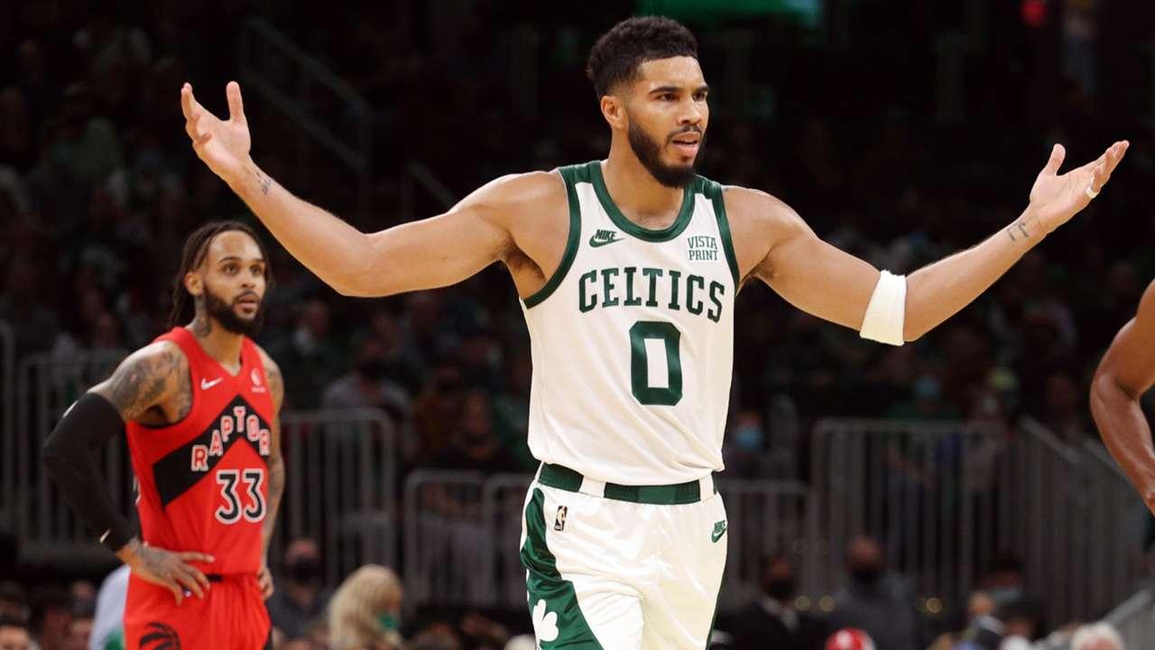 Jayson Tatum reacts during the Celtics big loss to Toronto