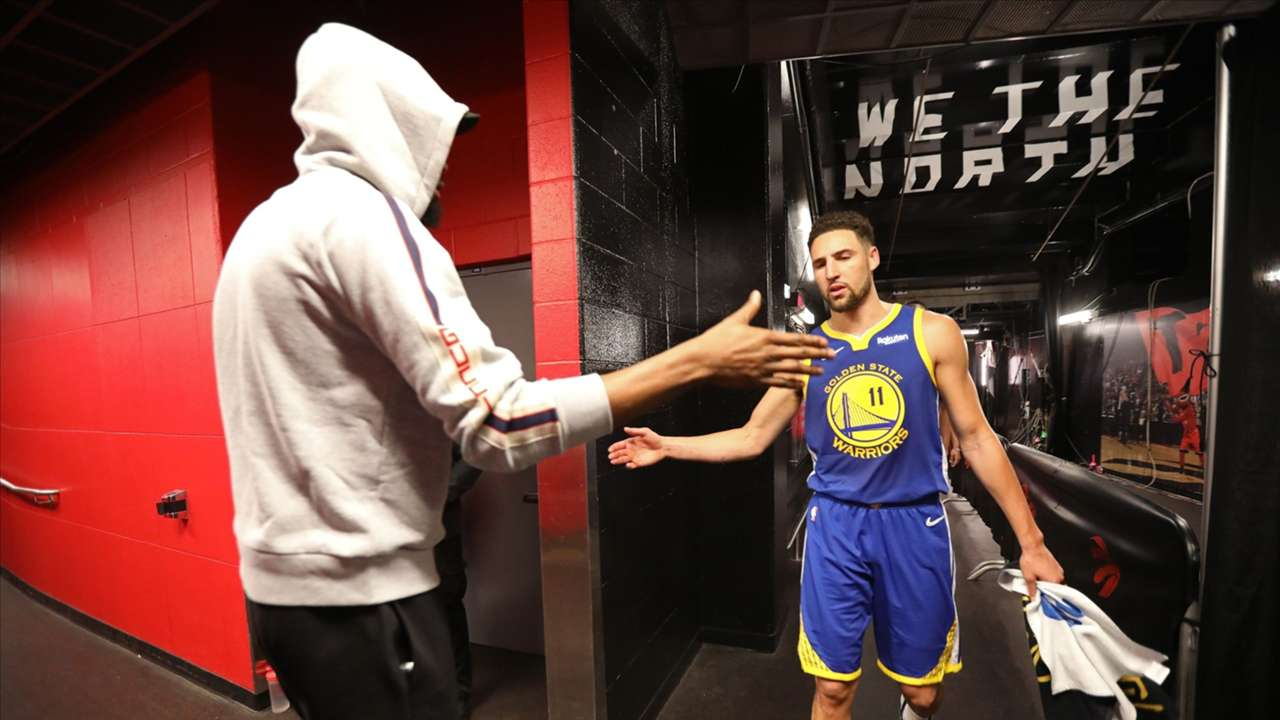 Kevin Durant and Klay Thompson after Game 2 of the NBA Finals.