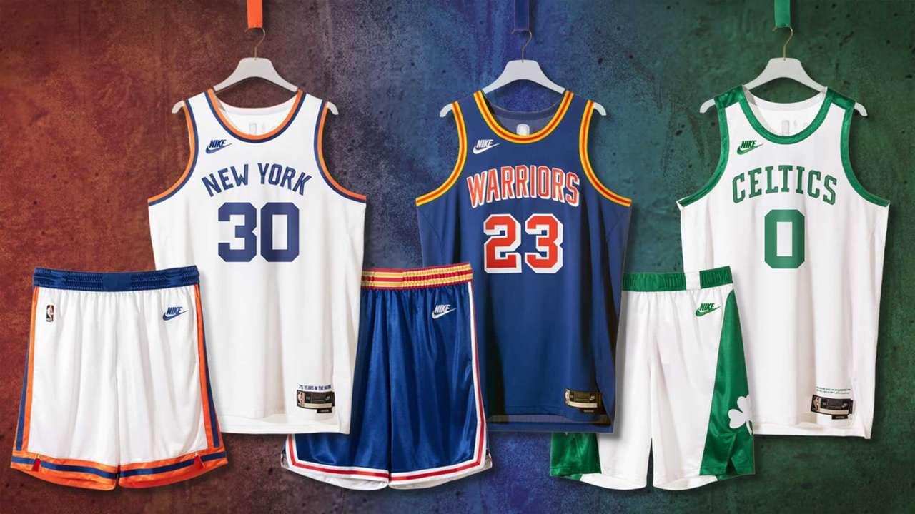 New York Knicks, Golden State Warriors and Boston Celtics Classic Edition uniforms