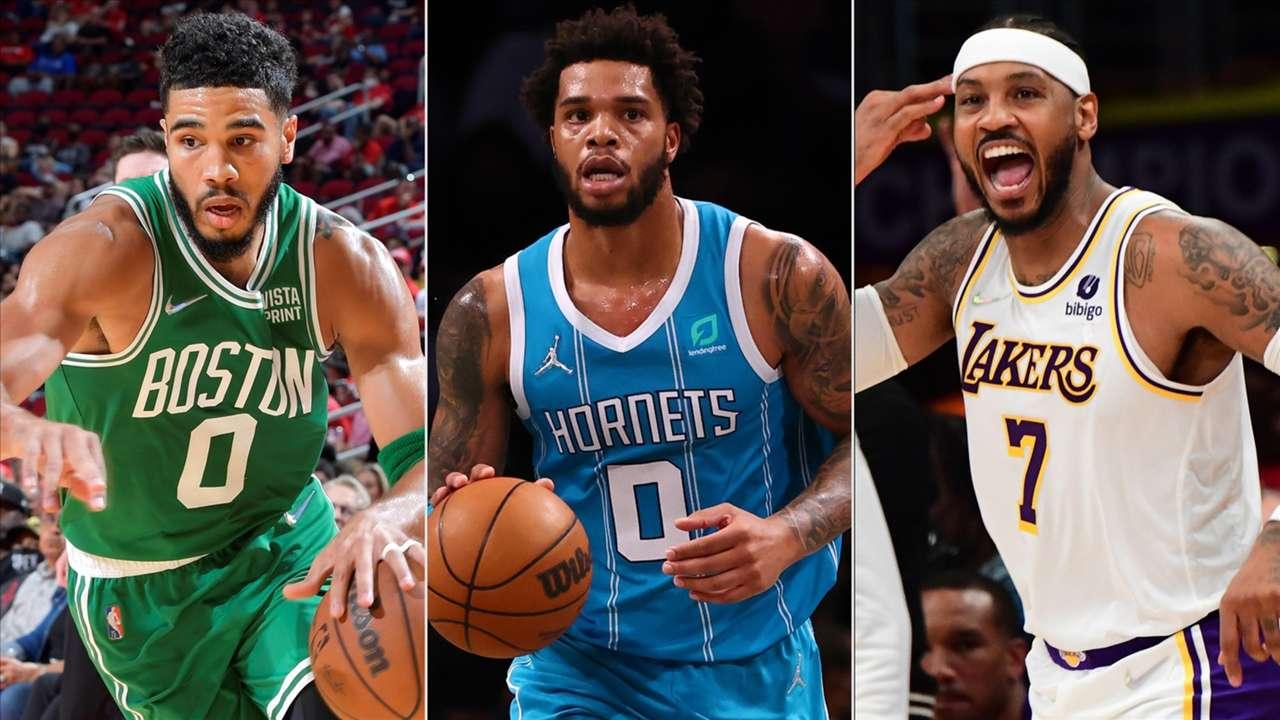 Jayson Tatum (Boston Celtics), Miles Bridges (Charlotte Hornets), Carmelo Anthony (Los Angeles Lakers)