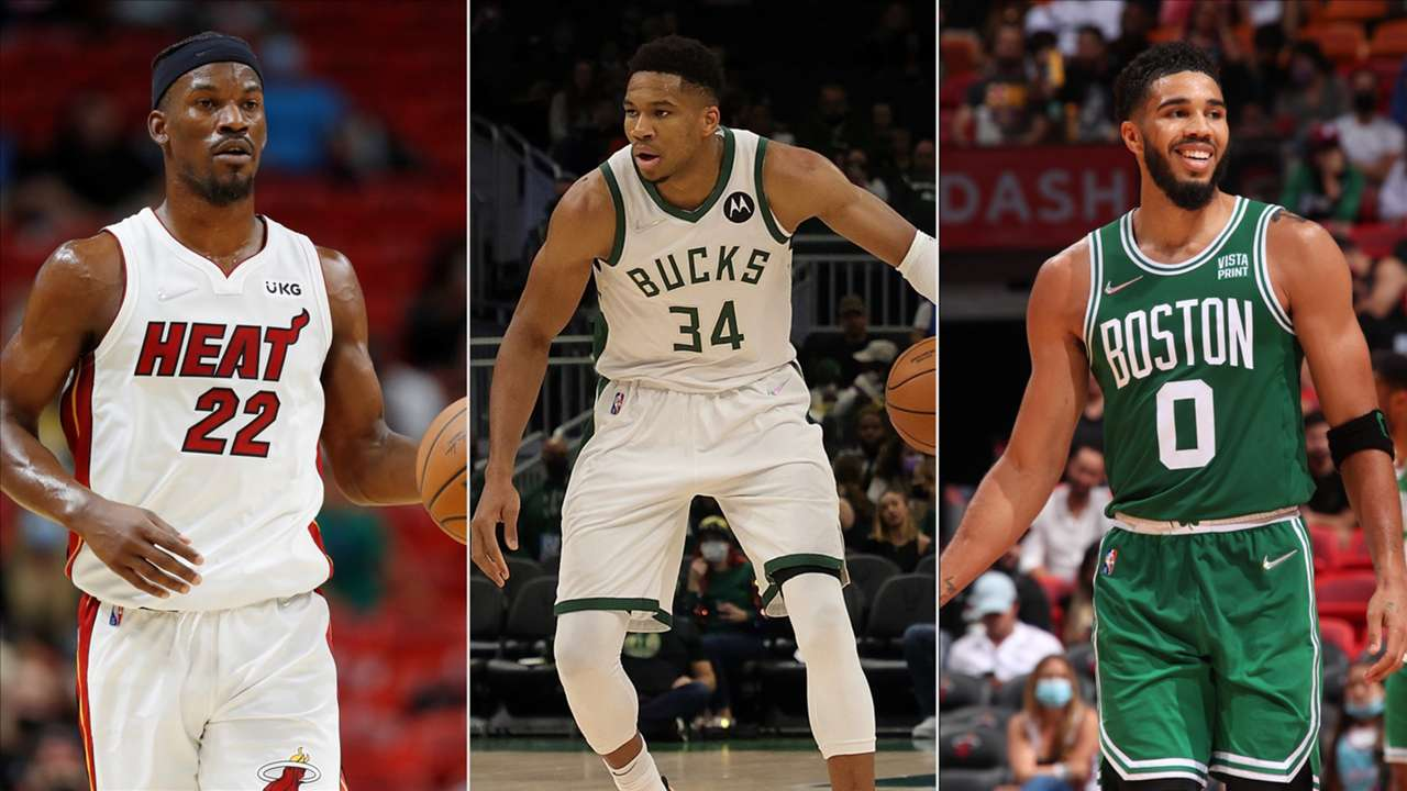 Giannis Antetokounmpo, Jimmy Butler and Jayson Tatum in action on the final day of preseason