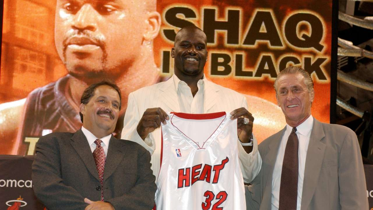 Stan Van Gundy, Shaquille O'Neal, and Pat Riley