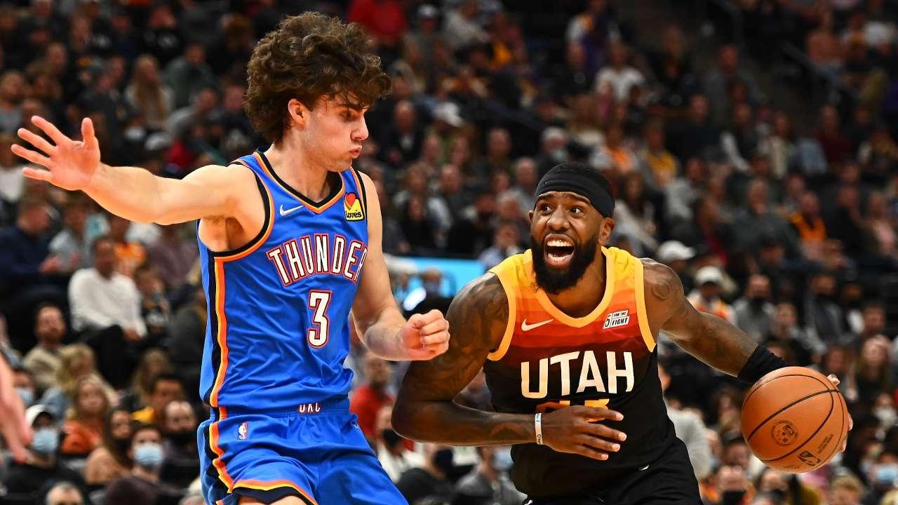 Josh Giddey defends during his NBA debut in Utah