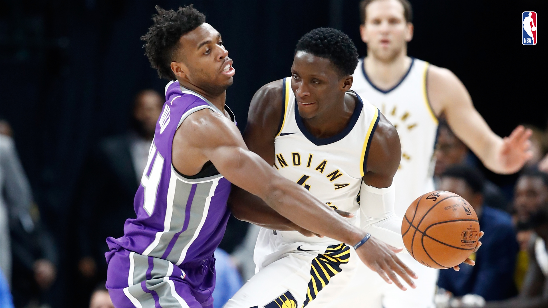 Buddy Hield of the Sacramento Kings and Victor Oladipo of the Indiana Pacers
