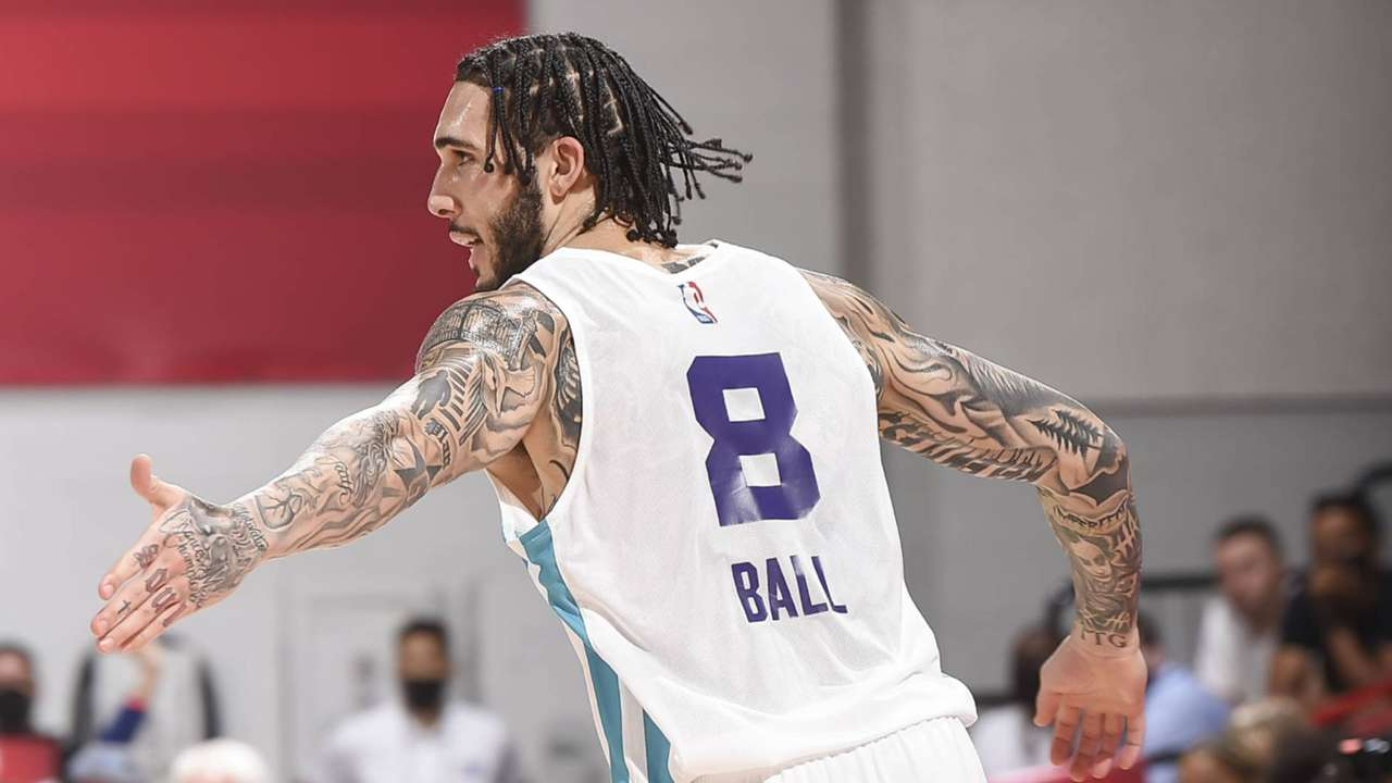 LiAngelo Ball with the Charlotte Hornets at the 2021 NBA Summer League
