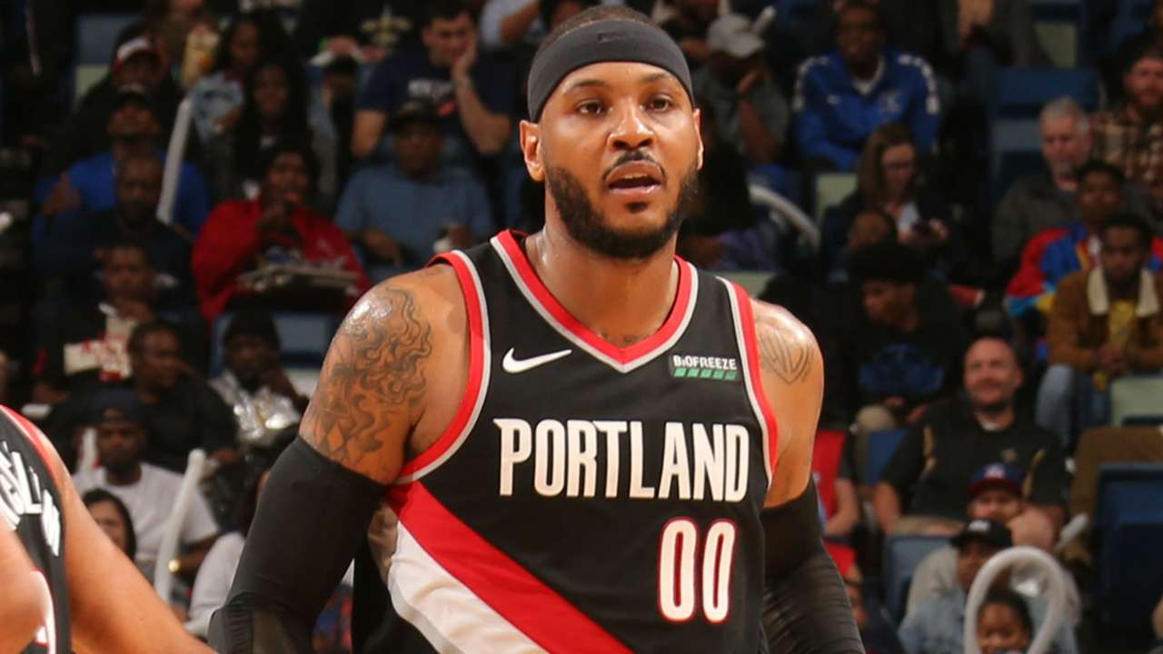 Carmelo Anthony finished 4-14 from the field in his Portland debut