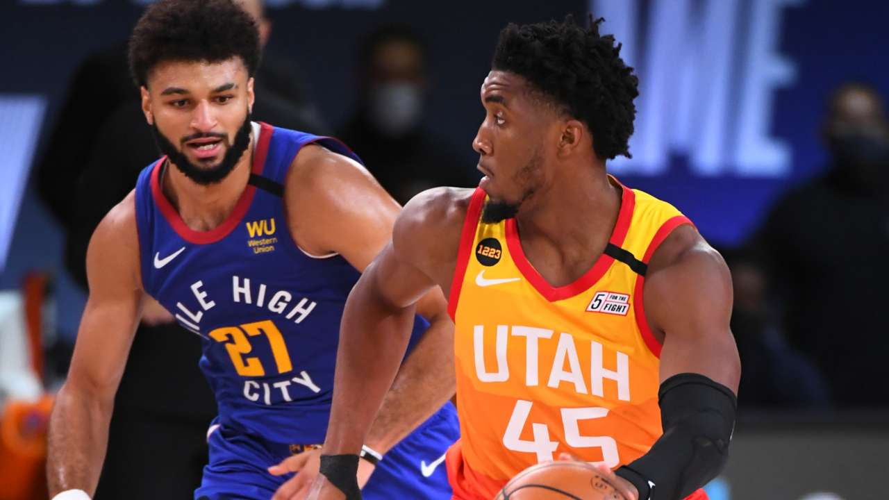 Jamal Murray and Donovan Mitchell from Game 4 of the 2020 first-round series