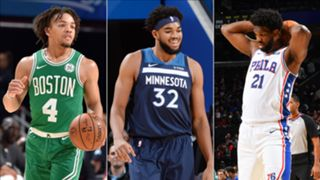 Carsen Edwards, Karl-Anthony Towns, and Joel Embiid