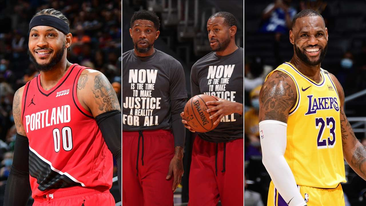 Carmelo Anthony, Udonis Haslem, Andre Iguodala and LeBron James, four of the NBA's most seasoned veterans. Los Angeles Lakers, Miami Heat, Golden State Warriors