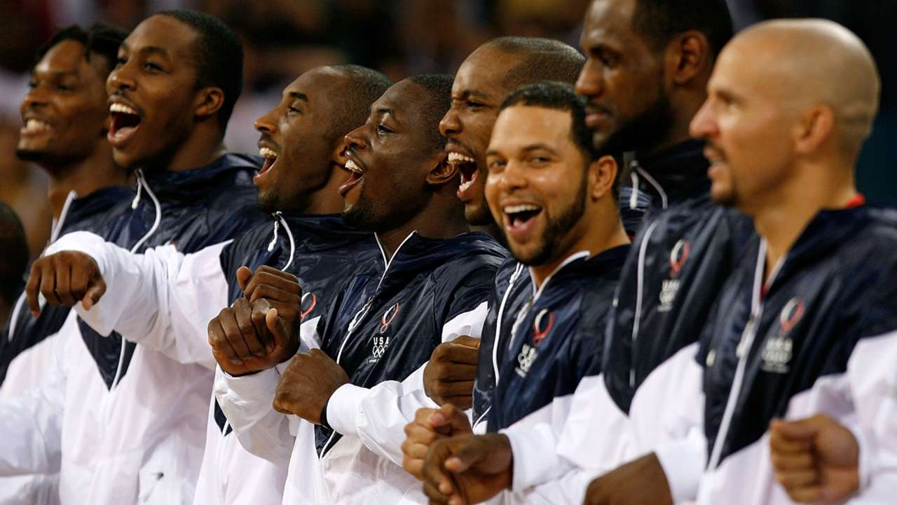 Team USA steps to the podium after defeating Spain for the Gold Medal at the Beijing Olympics