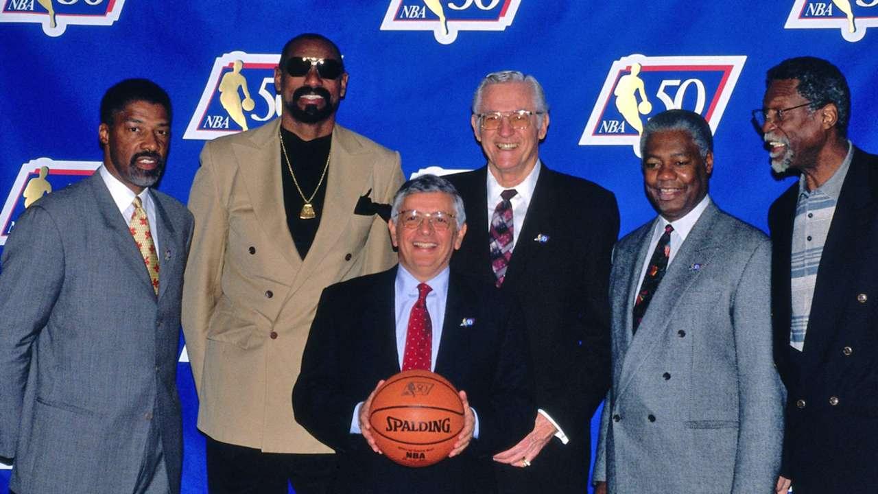 Julius Erving, Wilt Chamberlain, David Stern, George Mikan and Bill Russell, NBA 50 Greatest Players
