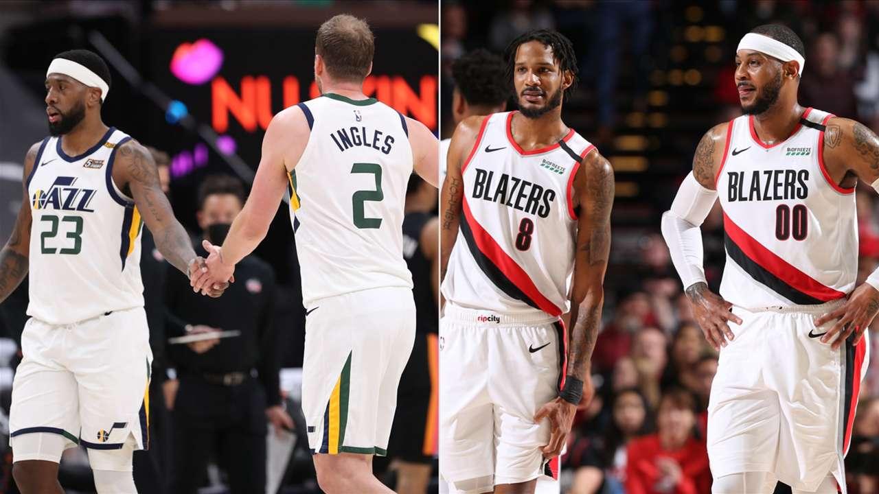 Royce O'Neale, Joe Ingles (Utah Jazz), Trevor Ariza, Carmelo Anthony (Portland Trail Blazers)