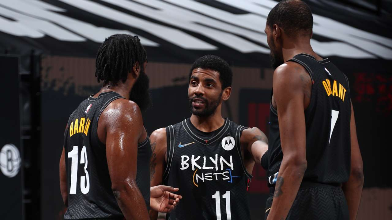 James Harden, Kyrie Irving and Kevin Durant of the Brooklyn Nets
