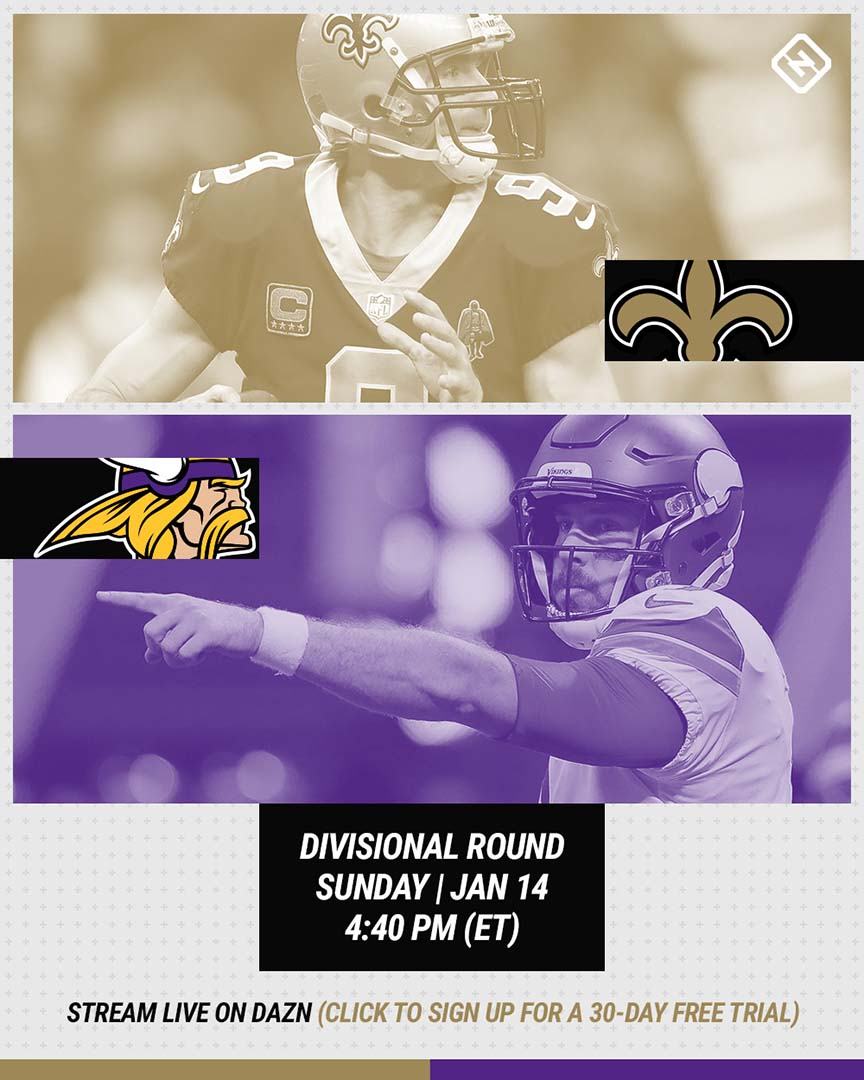 Saints-Vikings DAZN graphic