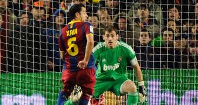 Xavi Hernandez ker Casillas during the Spanish league 'clasico' football match FC Barcelona Real Madrid