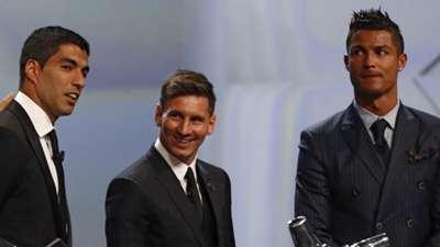 Luis Suarez Lionel Messi Cristiano Ronaldo 27082015
