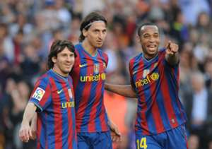 Lionel Messi, Zlatan Ibrahimovic and Thierry Henry of FC Barcelona