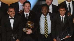 Dani Alves Lionel Messi Pele Neymar FIFA Ballon d'Or Gala 2011 01092012