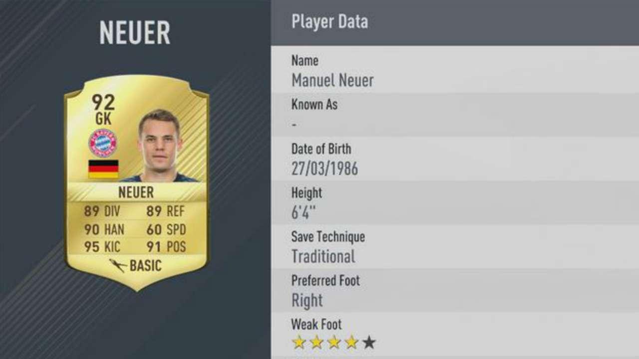 FIFA RATINGS NEUER