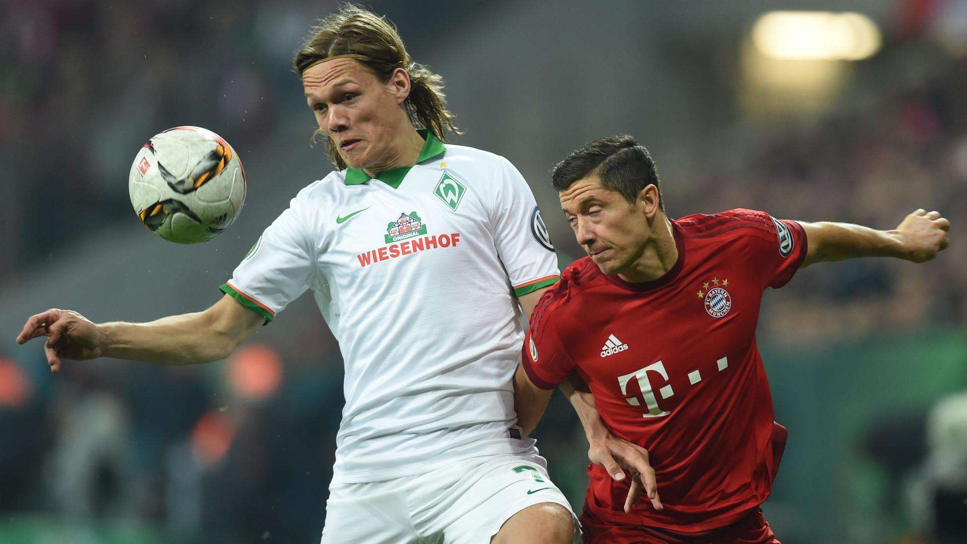 Robert Lewandowski Jannik Vestergaard FC Bayern Munchen Werder Bremen DFB Pokal 19042016