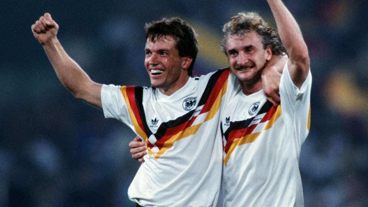 Lothar Matthaus Rudi Voller Germany World Cup 08071990
