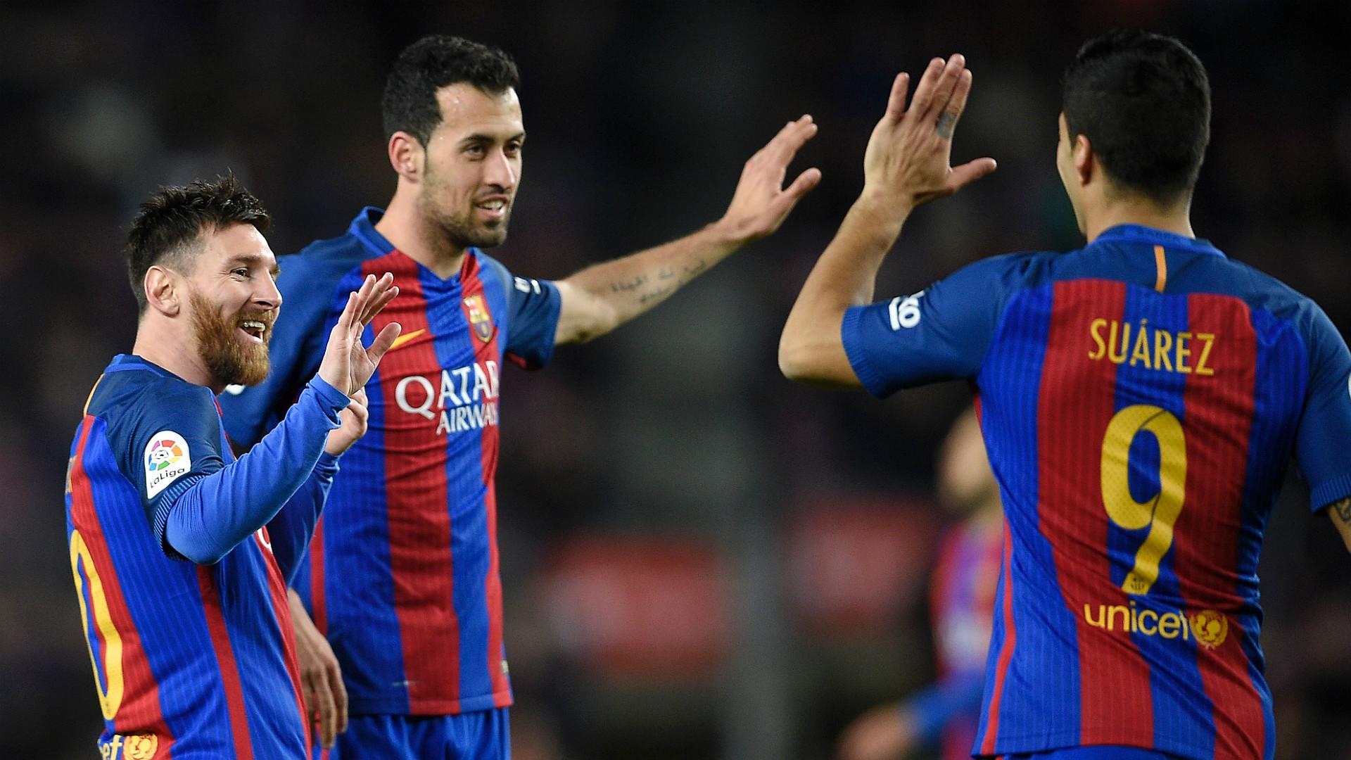 Lionel Messi Sergio Busquets Luis Suarez Barcelona Sporting Gijon LaLiga 01032017