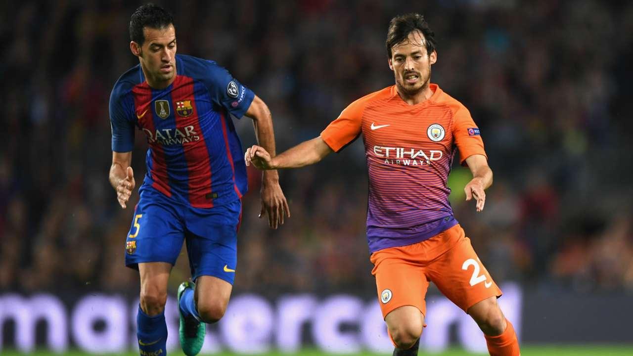 Sergio Busquets David Silva Barcelona Manchester City Champions League